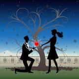 Siluetta romantica delle coppie Fotografia Stock