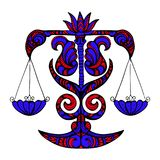 siluetta Rosso-blu di una Bilancia, un segno dello zodiaco su un backgro bianco fotografia stock