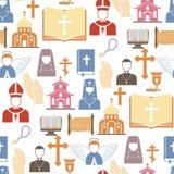 Siluetta santa dell'illustrazione piana di religionism del pastore di vettore di religione di Cristianità che prega fede cristian illustrazione di stock