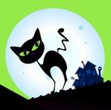 Siluetta spettrale del gatto con la luna piena nella priorità bassa royalty illustrazione gratis