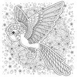 Siluetta stilizzata del pappagallo della giungla della cacatua di fantasia di vettore Fotografia Stock Libera da Diritti