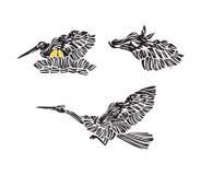 Siluetta stilizzata della cicogna di incastramento con le uova, l'uccello di volo ed il cavallo - insieme dell'icona di vettore d illustrazione vettoriale