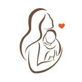 Siluetta stilizzata di vettore del bambino e della madre Fotografia Stock