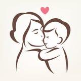 Siluetta stilizzata di vettore del figlio e della madre illustrazione di stock