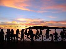 Siluetta sul tramonto Immagine Stock Libera da Diritti