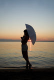 Siluetta sul tramonto Fotografia Stock