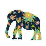 Siluetta sveglia dell'elefante con i fiori luminosi Fotografie Stock Libere da Diritti