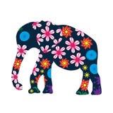 Siluetta sveglia dell'elefante con i fiori luminosi Fotografia Stock