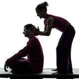 Siluetta tailandese di massaggio Fotografie Stock