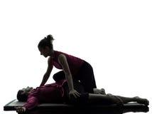 Siluetta tailandese di massaggio Immagini Stock Libere da Diritti