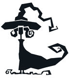 Siluetta, una strega in modo divertente illustrazione vettoriale