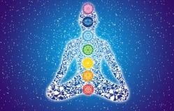 Siluetta variopinta dell'Yogi in una posa del loto contro un cielo stellato Fotografie Stock Libere da Diritti