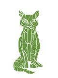 Siluetta verde del gatto Fotografie Stock