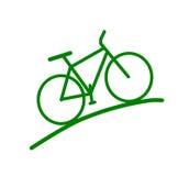 Siluetta verde della bici Fotografie Stock