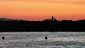 Siluette al tramonto, ala di Punta, Italia dei pescatori archivi video