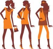 Siluette alla moda delle femmine Immagine Stock
