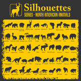 Siluette - animali nordamericani Immagine Stock