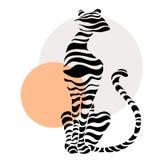 Siluette astratte di grande gatto Immagine Stock Libera da Diritti