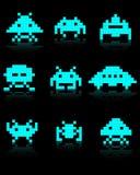Siluette blu degli invasori dello spazio Fotografia Stock