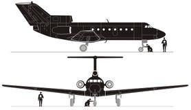Siluette ciao-dettagliate del jet di vettore Fotografie Stock Libere da Diritti