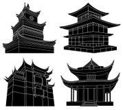 Siluette cinesi del pagoda Immagini Stock