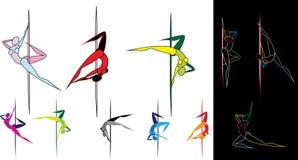 Siluette colorate dei ballerini del palo Fotografia Stock Libera da Diritti