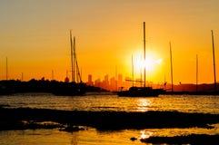 Siluette de la puesta del sol Imagen de archivo libre de regalías