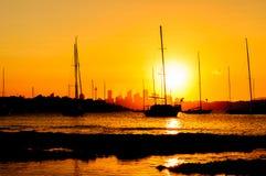 Siluette de la puesta del sol Fotografía de archivo