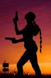 Siluette de la puesta del sol Imagenes de archivo