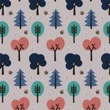 Siluette decorative colorate degli alberi su un fondo porpora Fotografia Stock