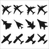 Siluette degli aeroplani Fotografie Stock Libere da Diritti