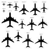 Siluette degli aeroplani Immagini Stock