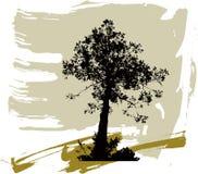 Siluette degli alberi su una priorità bassa del grunge Fotografie Stock
