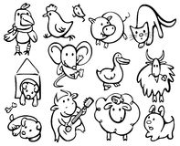 Siluette degli animali. Fotografia Stock