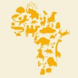Siluette degli animali di Frican messe Illustrazione di vettore Fotografia Stock