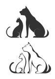 Siluette degli animali domestici, cane del gatto Immagini Stock