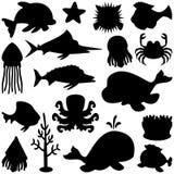 Siluette degli animali marini impostate Fotografie Stock