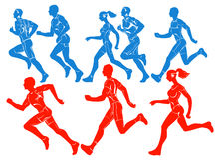 Siluette degli atleti correnti Fotografia Stock