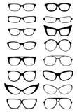 Siluette degli occhiali da sole e di vetro Immagine Stock