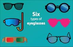 Siluette degli occhiali differenti, vetri di immersione con bombole, vetri di forma del cuore, vetri 3D, Fotografia Stock