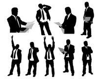 Siluette degli uomini d'affari Fotografia Stock