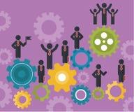 Siluette degli uomini d'affari che stanno sui grandi simboli del dente Come ottenere più clienti o clienti concetto illustrazione di stock