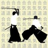 Siluette degli uomini di aikidi Fotografie Stock Libere da Diritti