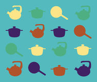 Siluette degli utensili della cucina su un fondo del turchese Immagini Stock Libere da Diritti