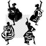 Siluette dei ballerini del cancan messe Fotografia Stock Libera da Diritti