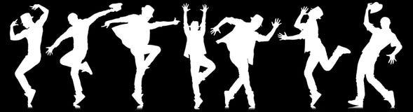Siluette dei ballerini nel concetto di dancing Immagini Stock