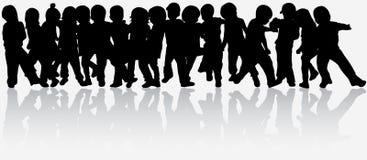 Siluette dei bambini Fotografie Stock Libere da Diritti