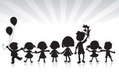 Siluette dei bambini Fotografia Stock