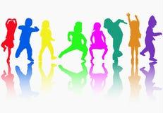 Siluette dei bambini di dancing Fotografie Stock