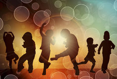 Siluette dei bambini di dancing Fotografia Stock